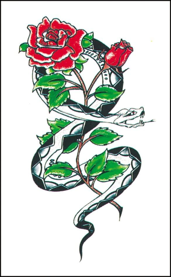 Cobra and roses tattoo