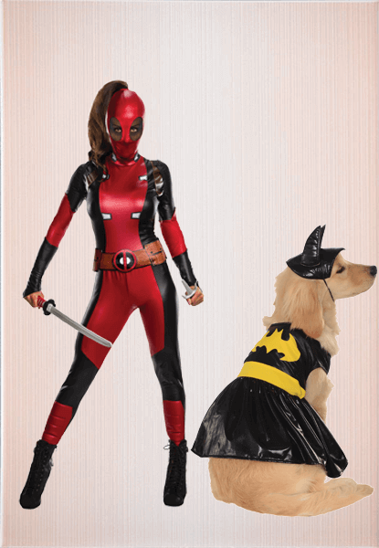 Female Deadpool Costume & Batman Dog Costume