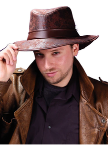 Fedora Brown Leather-Look For Adults