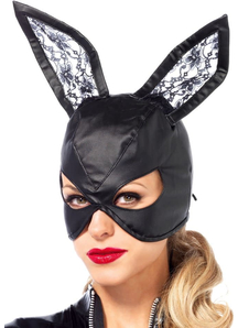 Mask Bunny Leather Blk For Adults