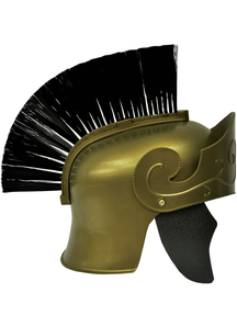 Roman Helmet Gd W Black Brush For Adults