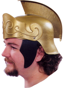 Roman Helmet Gold W Gold Crest For Adults