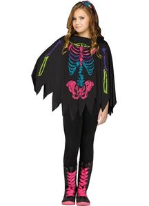Skeleton Black And White Poncho For Children - 20121