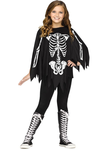 Skeleton Black And White Poncho For Children - 20122