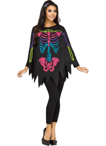 Skeleton Colored Poncho For Adults