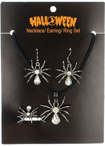 Spider Set Earrings Necklace Ring