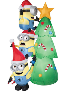 Airblown Minions Decorate Tree