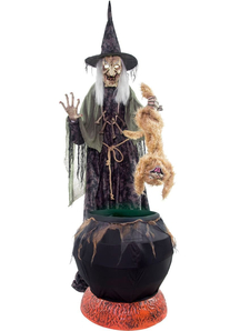 Animated Cat with Witch Prop
