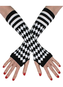 Fingerless Gloves Black White