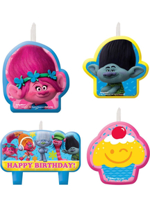 Trolls Birthday Candle Set 4Pk