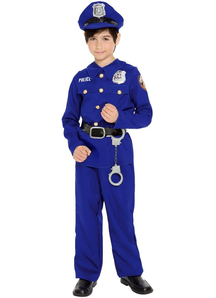 Blue Police Officer Child Costune