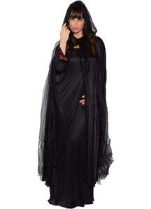 Ghost Cape Black Long Adult
