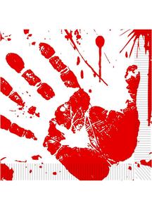 Bloody Handprints Luncheon Napkins. Halloween Table Decoration.