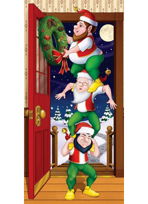 Christmas Elves Door Cover. Holiday Decorations.