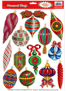 Christmas Ornament Clings. Christmas Decorations.