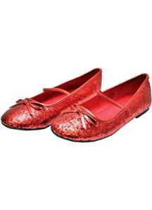 Flat Ballet Glitter Ch Red Xlg