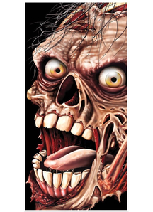 Grim Zombie Door Cover. Walls, Doors, Windows  Halloween Decorations.