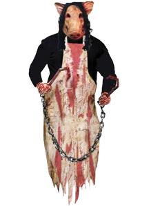Hanging Butcher Pig. Halloween Decoration.