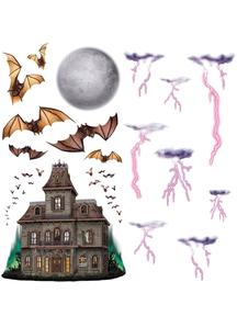 Haunted House Night Sky Prop. Walls, Doors, Windows Halloween Decorations.