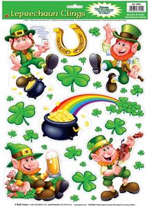 Leprechaun Shamrock Clings.St.Patrick