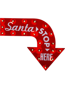 Santa Stop Here Sign. Holiday Decorations.
