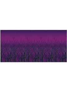 Spooky Forest Treetops Backdrop. Walls, Doors, Windows Halloween Decorations.