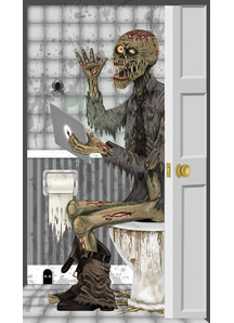 Zombie In The Toilet Door Cover. Walls, Doors, Windows  Halloween Decorations.