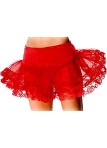 Petticoat Red Lace Bottom