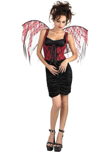 Wings Red Lace Black Corset