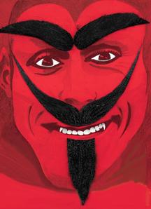 Devil Mustache Beard Brows Black