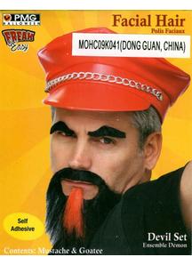 Mustache Goatee Set Black & Red
