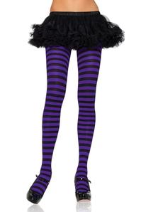 Tights Striped Black Purple