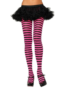 Tights Striped Blk Neon Pink