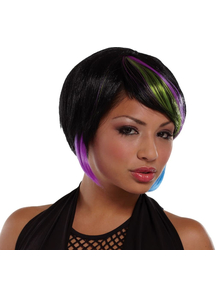 Bob Wig Black Lime Blue
