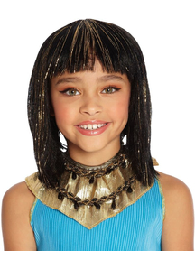Cleo Wig For Children Black With Gold