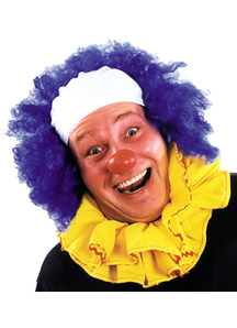 Clown Bald Curly Blue Wig For Adults