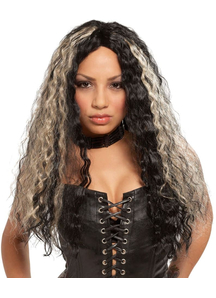 Crimped Long Wig For Rocker Costume