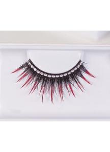 Eyelashes Black With Red Rhinest