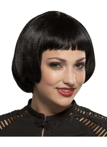 Flapper Sassy Black Wig For Adults