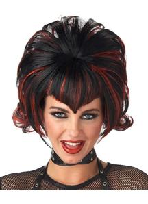 Goth Flip Black Burgundy Wig For Halloween
