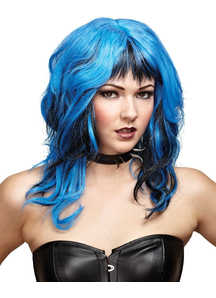 Hard Rockin Witch Peruke Black Blue