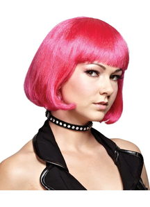 Hot Pink Bob Wig For Adults