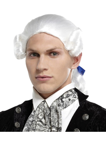 Ponytail Bow White Wig For Men