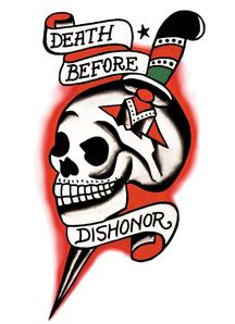 Tattoo Vintage Death Before Dishonor  Skull