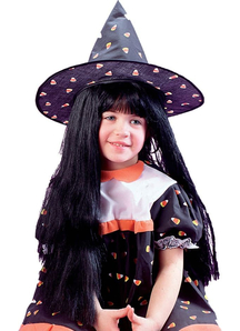 Wig Child Witch Black For Halloween