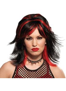 Wig For Rocker Unisex Black/Red