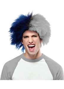 Wig For Sports Fun Blue Silver