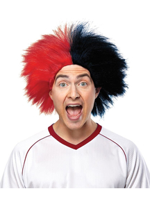 Wig For Sports Fun Red Black