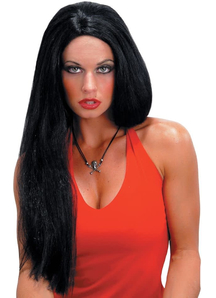 24 Inch Straight Black Peruke