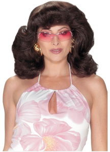 Angels 70S Dark Brown Wig For Adults